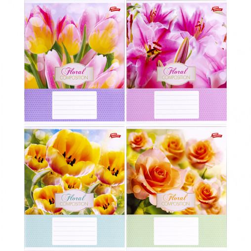 Тетрадь цветная 12 листов, косая с доп.линией 2811с