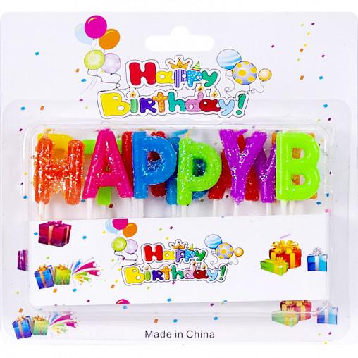 """Свечки для торта буквы """"Happy Birthday"""" KOD250/10-102"""