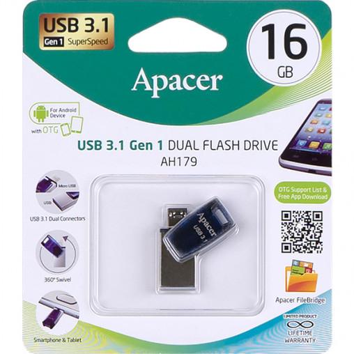 Флешка Apacer USB 16Gb AH179 microUSB OTG blue USB 3.1 AP16GAH179U-1 913500/064482
