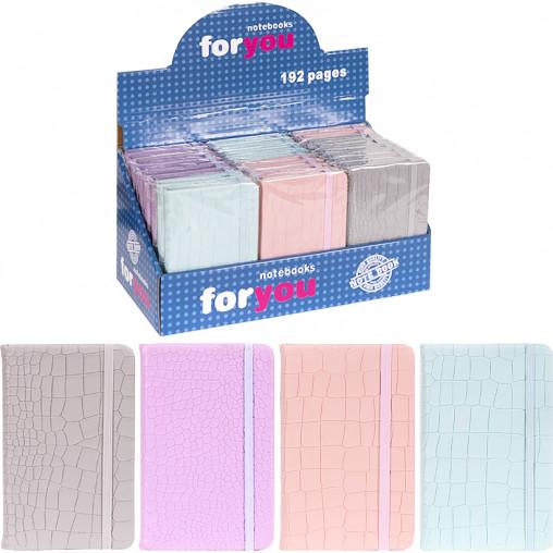 Блокнот на резинке 14*9см твердый переплет, кож/зам 5602-10