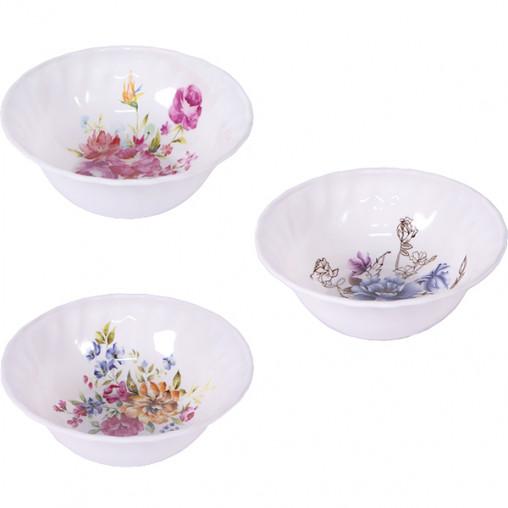 Меламиновая тарелка белая с цветами 1002-7/Х3-25 D17,5см