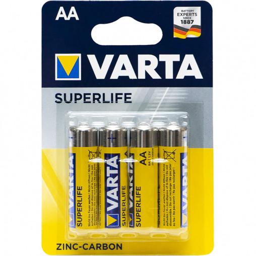 Батарейки R6 Varta Superlife ZnCb AA 4 шт/блистер 556267