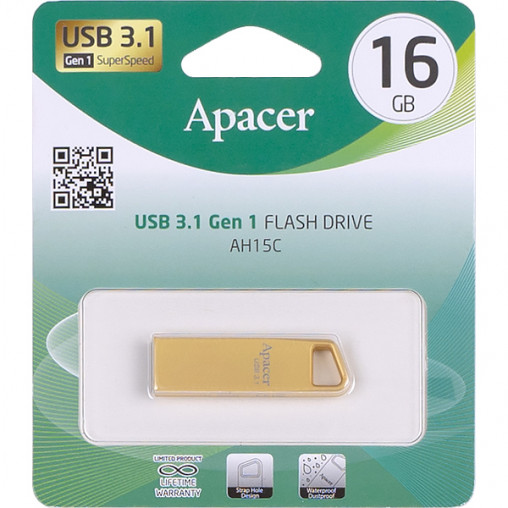 Флешка Apacer USB 16Gb AH15C Metal gold USB 3.1 AP16GAH15CC-1 915856/064479