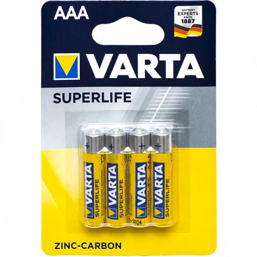 Батарейки R03 Varta Superlife ZcCb AАA 4 шт/блистер 676187