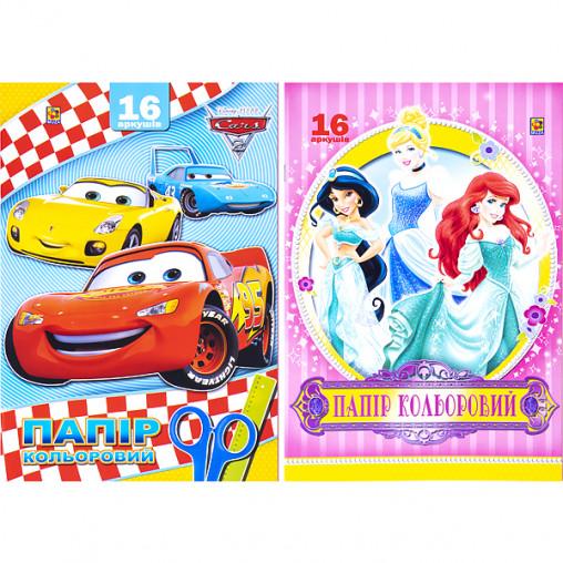 """Цветная бумага А4/А3 16 листов книжкой, машинки, принцессы """"Коленкор"""" 563990"""