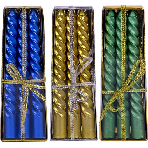 Набор свечей праздничных 3шт металл 15см 10-98