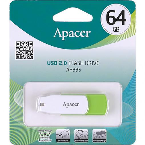 Флешка Apacer USB 64Gb AH335 Green AP64GAH335G-1 914361/044633