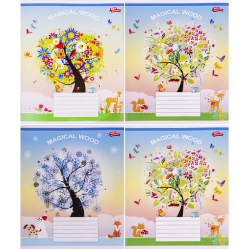 Тетрадь цветная 12 листов, косая с доп.линией 3081с