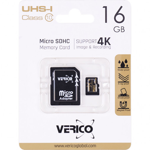 Карта памяти Verico MicroSDHC 16GB UHS-I (Cl10)+SD adapter 1MCOV-MAH9G3-NN 600456/044265