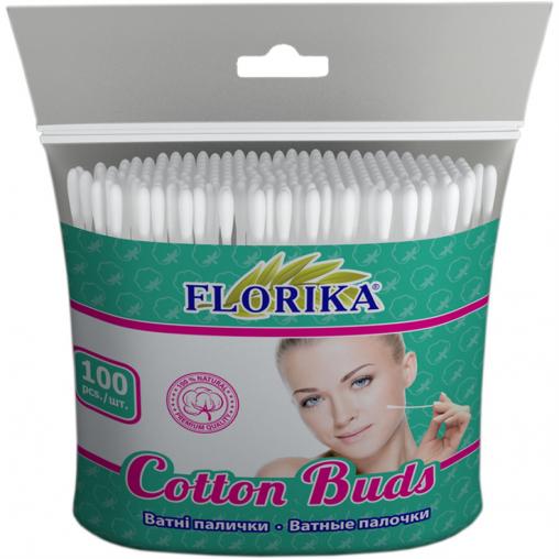 """Ватные палочки """"Florika"""" 100 штук 75мм п\э12*11*2см 350240"""