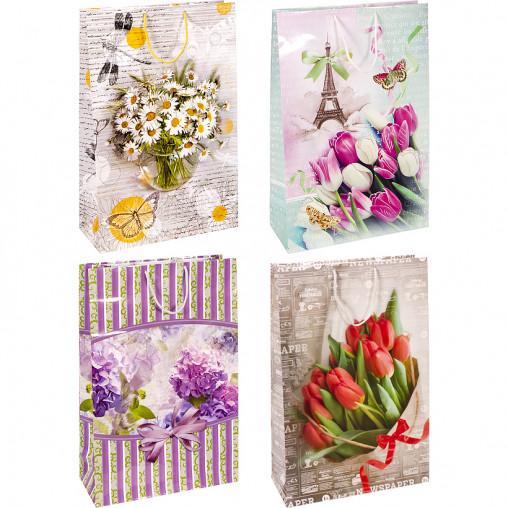 """Пакет цветной гигант """"Цветы"""" вертикальный 45х30х11,5см 6010"""