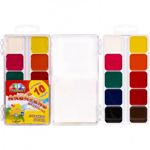 """Акварель 10 кольорів """"Захоплення"""" пластик """"Гамма"""" 13,5 * 7,5 см"""