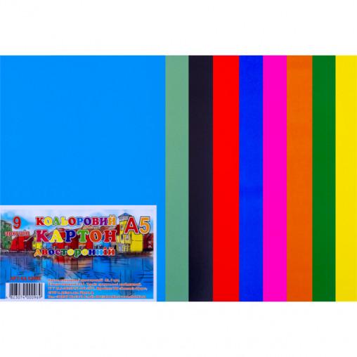 """Цветной картон А5 двусторонний, 9 листов """"Офорт"""" КА5209Е"""