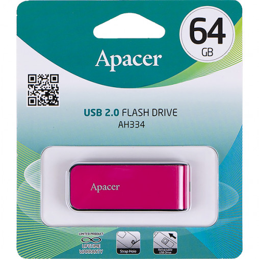Флешка Apacer USB 64Gb AH334 Pink AP64GAH334P-1 910691/057271