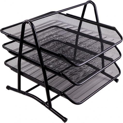 """Лоток 3 отделения """"металл"""" 2003/1087-BI горизонтальный черный"""