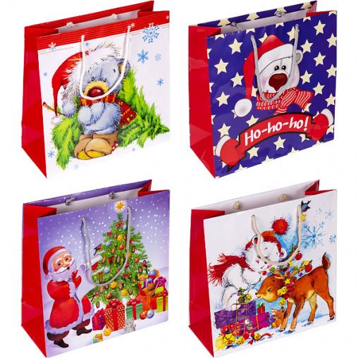 """Пакет цветной квадрат """"Детский Новогодний"""" 24х24х10 см 4017"""