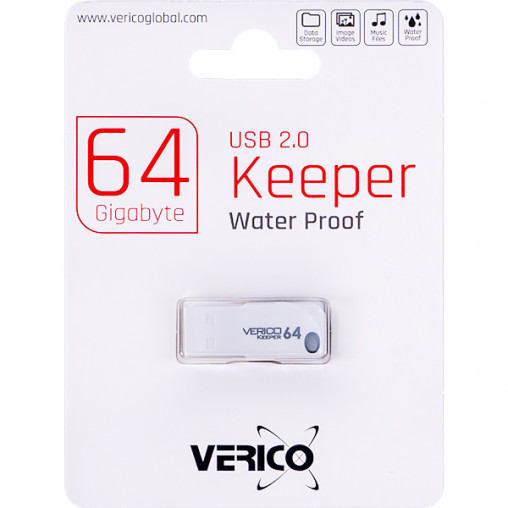 Флешка Verico USB 64Gb Keeper White+Black 1UDOV-P0WK63-NN 605291/046612