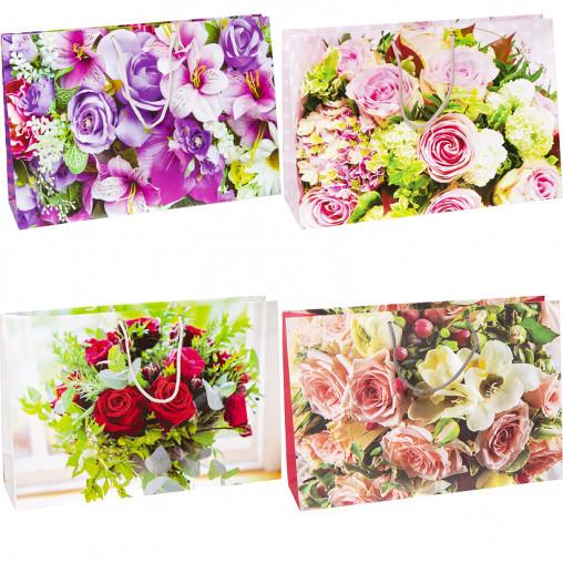 """Пакет цветной большой """"Цветы"""" горизонтальный 36х25х10 см 5006"""