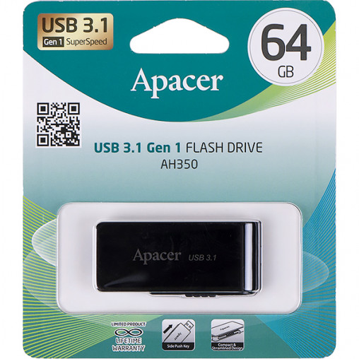 Флешка Apacer USB 64Gb AH350 black USB 3.0 AP64GAH350B-1 897855/044634