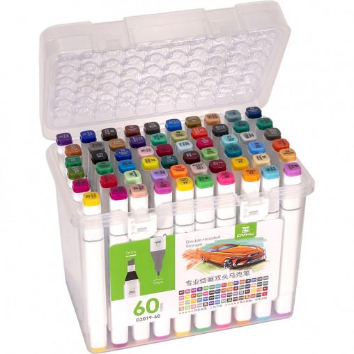 Набор скетч-маркеров 60 цветов 2019-60 в пластиковом боксе
