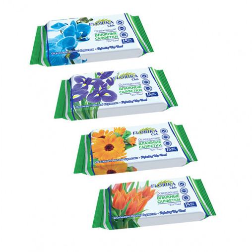 """Влажные салфетки """"Florika"""" Цветы 15 штук 350141"""