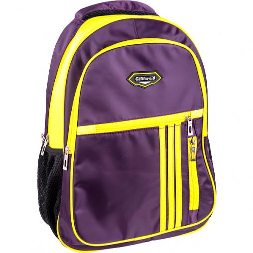 """Рюкзак California M """"Темно-фиолетовый"""" с желтым 42*29*13см 980518"""