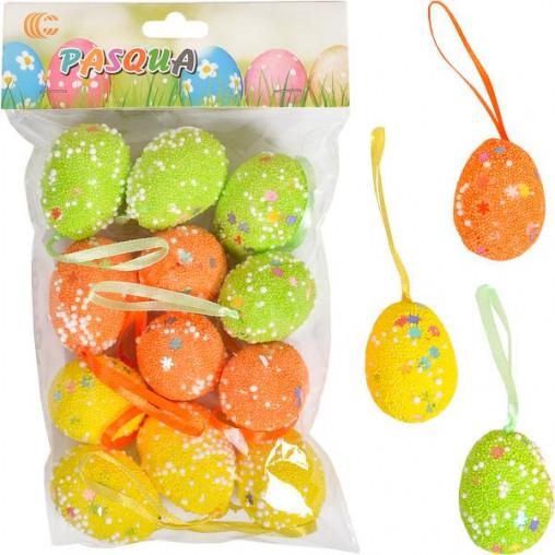 Набор Яйца декоративные 12шт с ленточкой 4см 203494