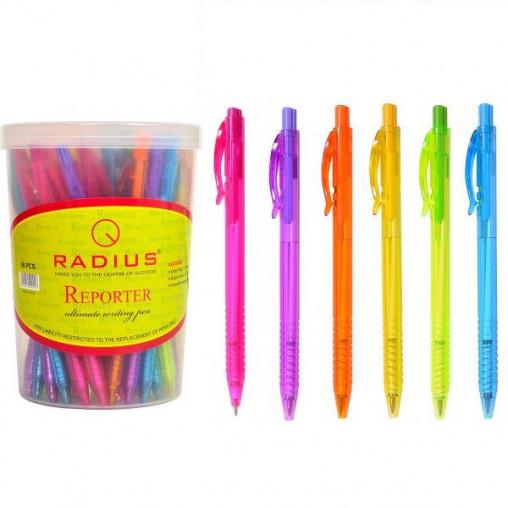 """Ручка """"Reporter"""" RADIUS корпус 6 цветов 50 штук, cиняя 500016"""