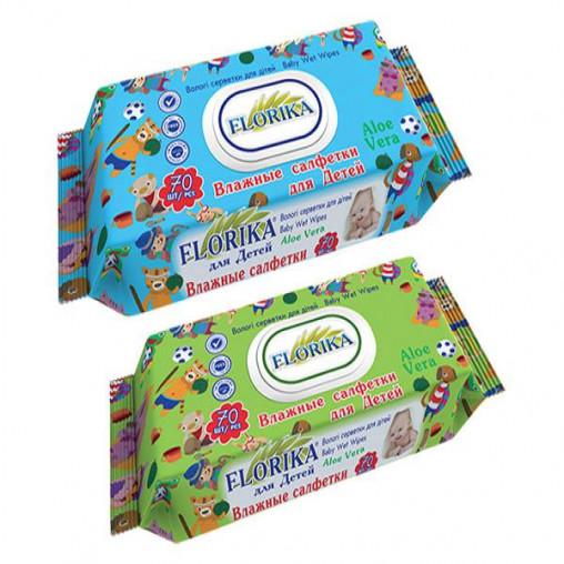 """Влажные салфетки для детей """"Florika"""" 70 штук с клапаном 350349"""