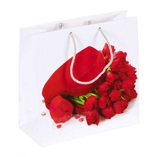 """Пакет цветной квадрат """"St. Valentine's Day"""" 24х24х10 см 4020"""