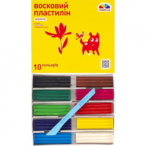 """Пластилин восковый """"Малята"""" 10 цветов, 120 г """"Гамма"""" 100304"""