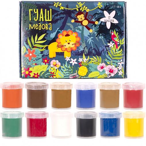 """Гуашь """"Сафари"""" 12 цветов, 15мл Mizar ГШ-003-МВ"""
