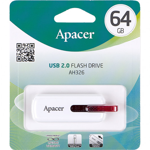 Флешка Apacer USB 64Gb AH326 White AP64GAH326W-1 894267/044629