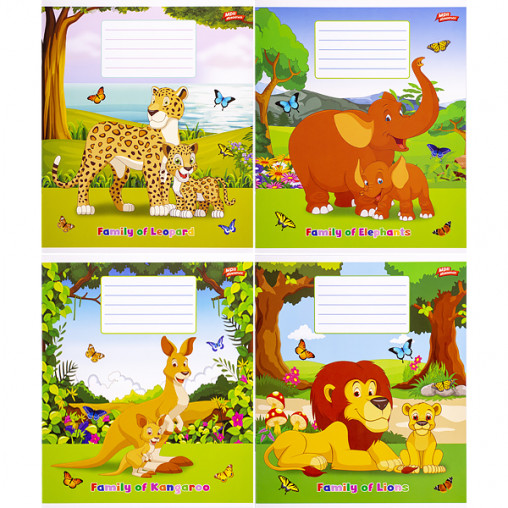 Тетрадь цветная 12 листов, косая с доп.линией 2541с