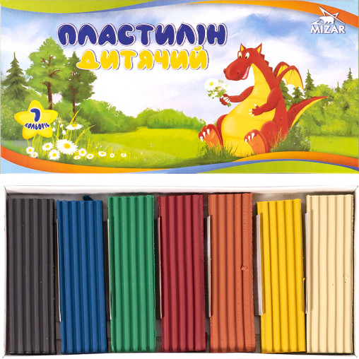 """Пластилин """"Казковий"""" 300 г 7 цветов """"Mizar"""" ПЛ-006-МВ"""